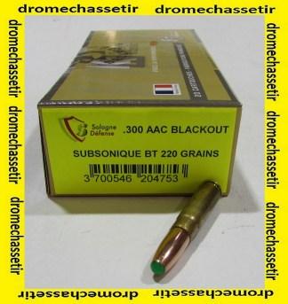 boite de 20 cartouches cologne, 300 blackout subsonique, 220 grains nosler BT