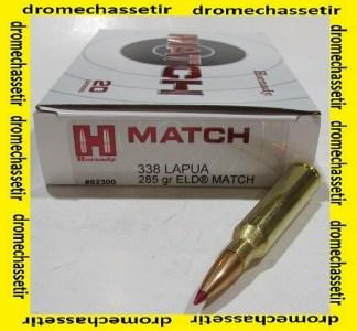 BOITE 20 CARTOUCHES HORNADY 338 LAPUA MAGNUM 285GR ELD MATCH 82300