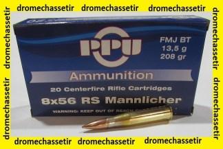 Boite de 20 cartouches calibre 8x56 RS Mannlicher, 208 grains FMJBT