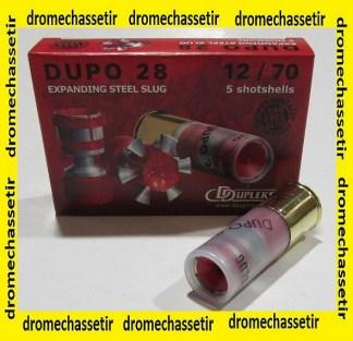 Boite de 5 cartouches DDUPLEKS DUPO 28 cal 12/70, balle de 28 grs