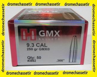 boite de 50 ogives Hornady GMX cal 9,3 poids 250 grains ref 3562