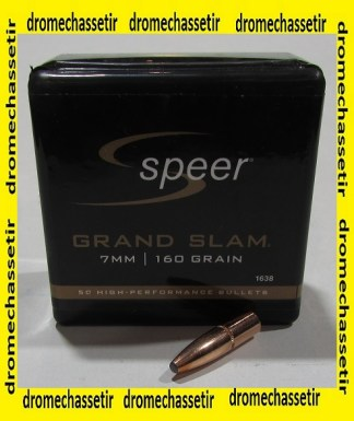 Boite 50 ogives Speer cal 7mm en160 grains Grand Slam Soft Point, ref 1638