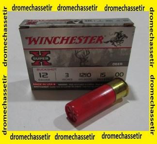 boite de 5 cartouches Winchester Super X, cal 12/76, chevrotines 12 grains