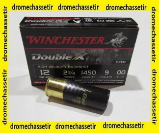 boite de 5 cartouches Winchester double XX, cal 12/70, chevrotines 9 grains