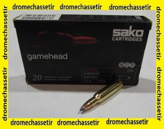 Boite 20 cartouches SAKO 222 remington 55 grains GAMEHEAD soft point