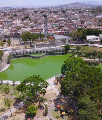 Vista aérea del parque Alcalde en Guadalajara
