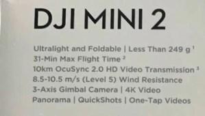 dji mini2のスペック表