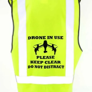 Drone Pilot Safety Vest Inspire Image Drone in Use Close Up