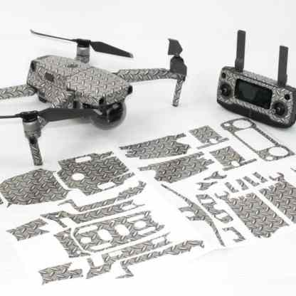 Diamond Plate Drone Skin Wrap for DJI Mavic 2 with Remote and Print Out