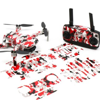 Camo Red Drone Skin Wrap Stickers for DJI Mavic Mini Front View with Print Out