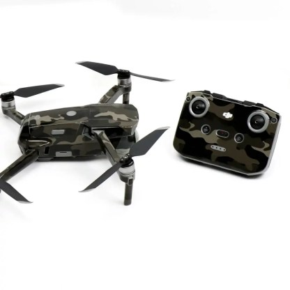 Black Camo Drone Skin Wrap Decal Stickers for DJI Mavic Air 2 Applied to Drone and Remote Side View