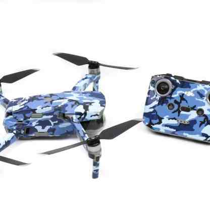 Blue Camo Drone Skin Wrap Decal Stickers for DJI Mavic Air 2 Applied to Drone and Remote Side View