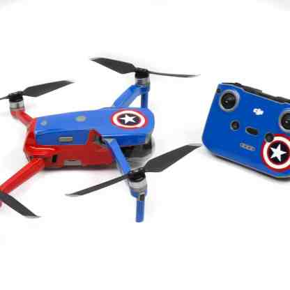 Captain America Drone Skin Wrap Decal Stickers for DJI Mavic Air 2 Applied to Drone and Remote Side View
