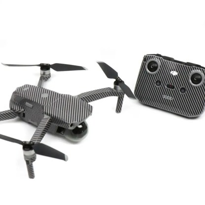 Carbon Fibre Black Drone Skin Wrap Decal Stickers for DJI Mavic Air 2 Applied to Drone and Remote Front View
