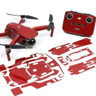 Carbon Fibre Red Drone Skin Wrap Decal Stickers for DJI Mavic Air 2 Applied to Drone and Remote Front View with Print Out