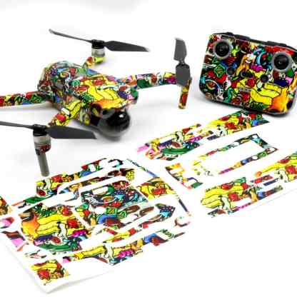 Graffiti Drone Skin Wrap Decal Stickers for DJI Mavic Air 2 Applied to Drone and Remote with Print Out