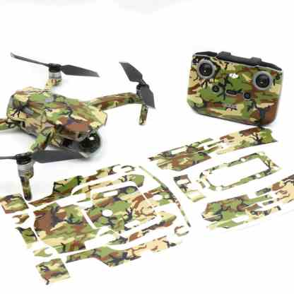 Green Camo Drone Skin Wrap Decal Stickers for DJI Mavic Air 2 Applied to Drone and Remote Front View with Print Out