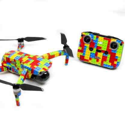 Lego Bricks Drone Skin Wrap Decal Stickers for DJI Mavic Air 2 Applied to Drone and Remote Front View