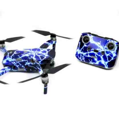 Lightning Strikes Drone Skin Wrap Decal Stickers for DJI Mavic Air 2 Applied to Drone and Remote Side View