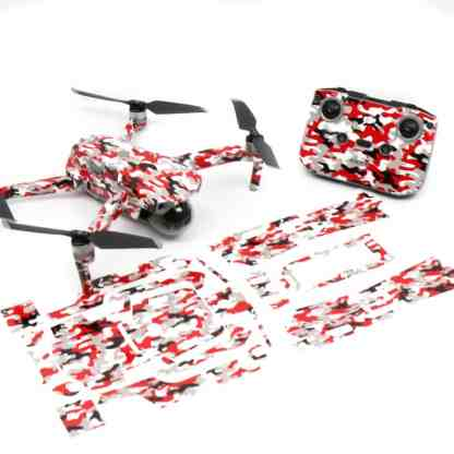 Red Camo Drone Skin Wrap Decal Stickers for DJI Mavic Air 2 Applied to Drone and Remote Front View with Print Out