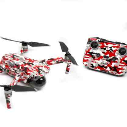 Red Camo Drone Skin Wrap Decal Stickers for DJI Mavic Air 2 Applied to Drone and Remote Front View