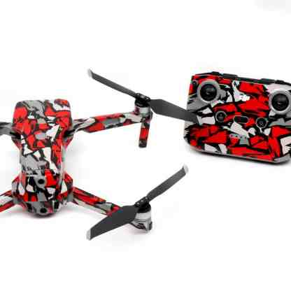 Red Rock Drone Skin Wrap Decal Stickers for DJI Mavic Air 2 Applied to Drone and Remote Rear View