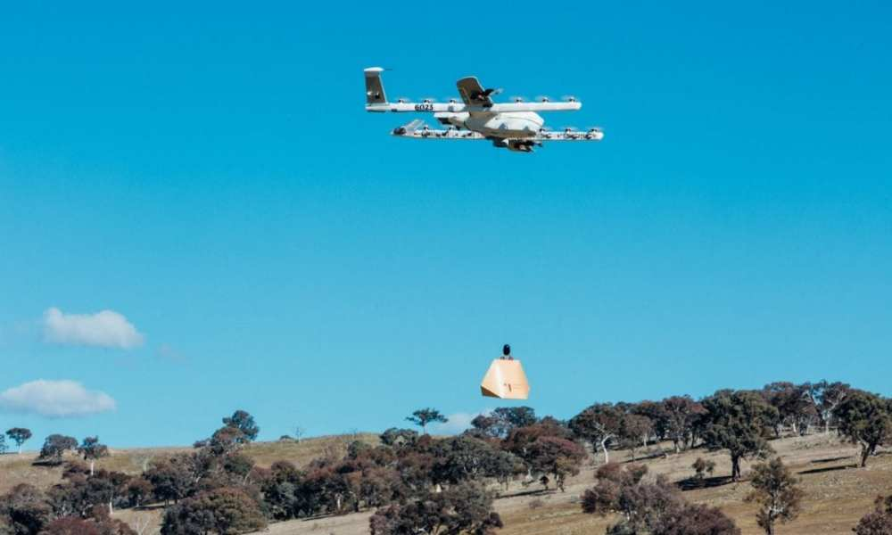 Wing delivery drone flying over Queanbeyan, Australia
