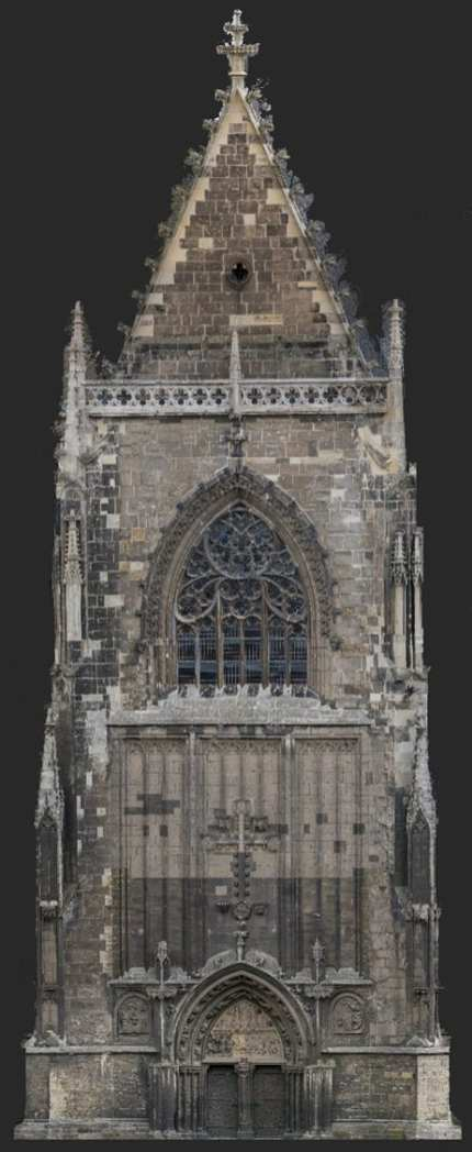 The Intel Falcon 8+ commercial inspection drone showcases a detailed image of the historic Halberstad Cathedral's in Saxony-Anhalt, Germany. (Credit: Intel Corporation)