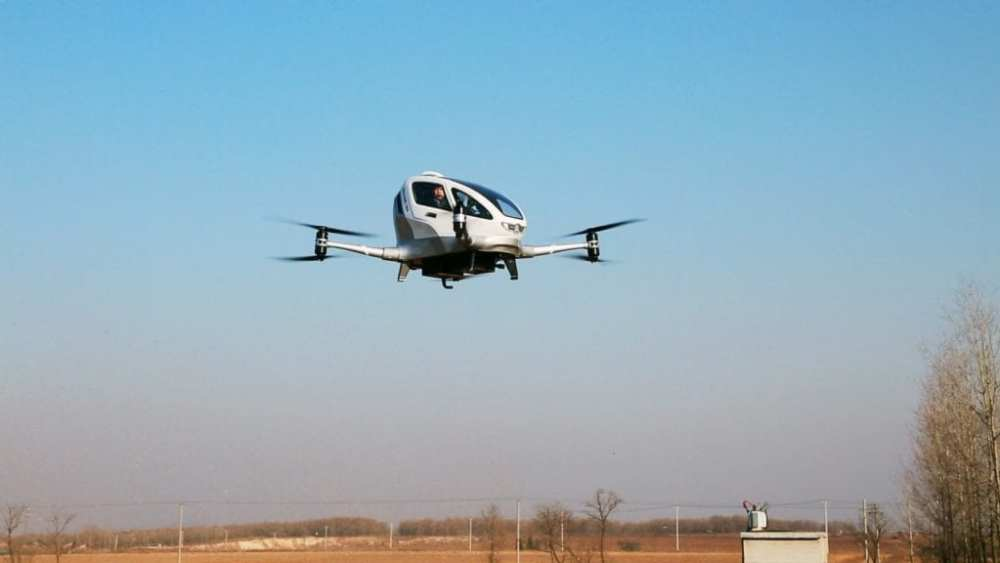 EHANG 184 AAV Manned Flight Test by EHANG CEO Mr. Hu Huazhi
