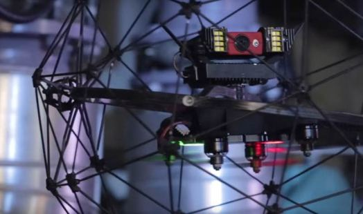 Closeup of the Elios drone with HD camera