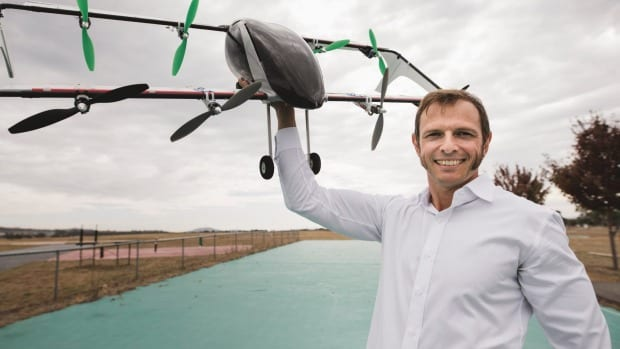 Co-founder of AMSL Aero, Andrew Moore, with a prototype Verti-plane, which has been backed by Telstra's muru-D accelerator