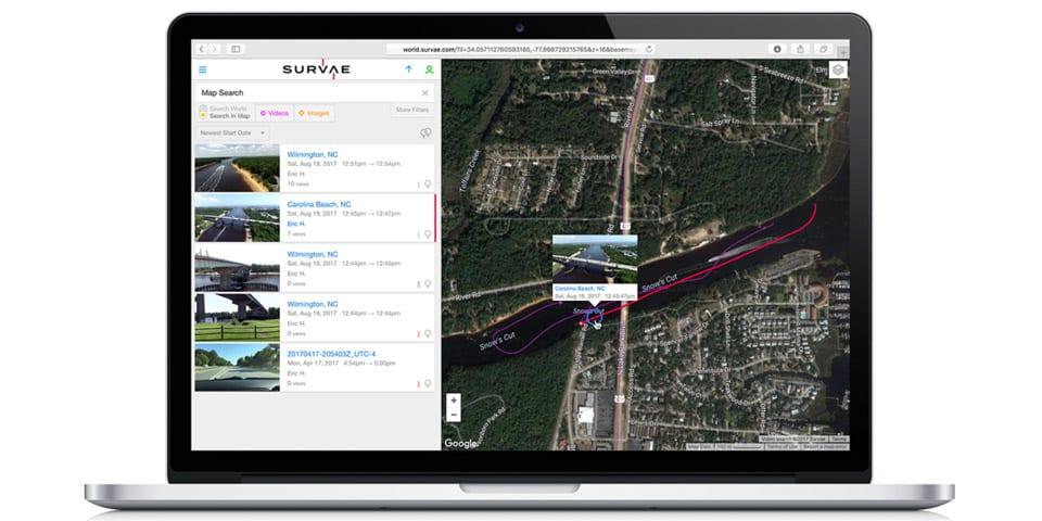 Screenshot of the SURVAE video managment application