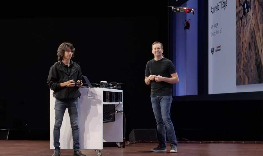 Sam George and a commercial drone pilot demonstrate a DJI Mavic Air using Azure IoT Edge | PRNewswire