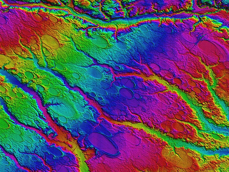 A digital elevation map of a bay in Robeson County, NC. Vertical resolutions of centimeters allow for visualization of the form and extent of the bays' otherwise imperceptible rims | Credit: Michael Davias