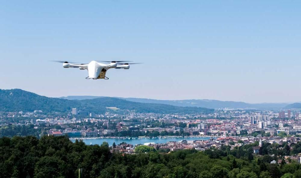 A Matternet drone flies over Zurich