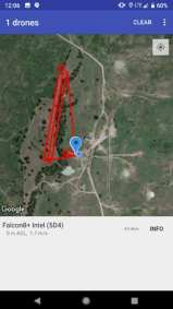 The Open Drone ID mobile application shows the path an Intel Falcon 8+ commercial drone took during Open Drone ID and UAS Integrated Pilot Program event in the Choctaw Nation, outside Durant, Oklahoma, on Aug. 15 2018. (Credit: Intel Corporation)