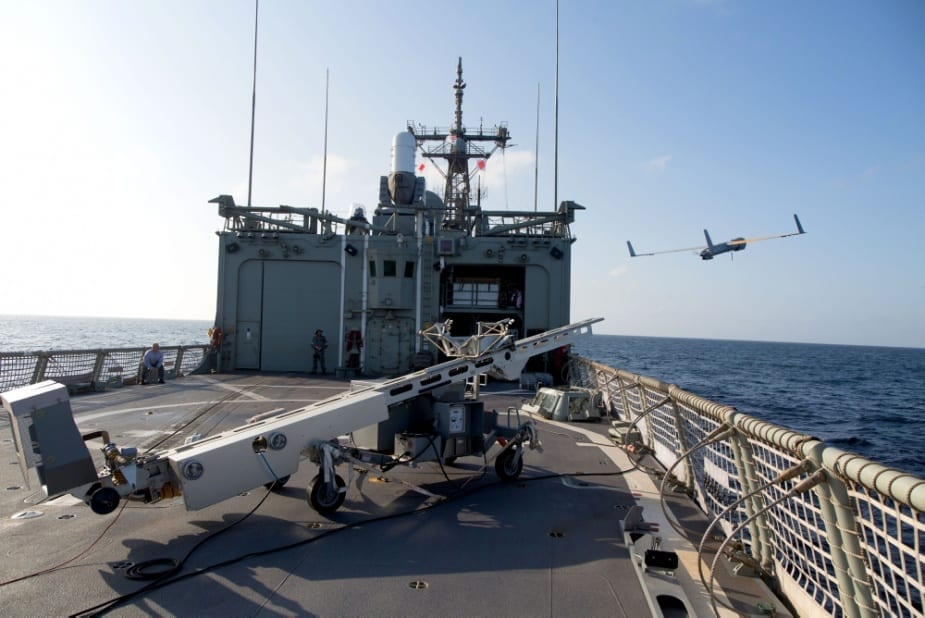 ScanEagle is launched from the flight deck of HMAS Newcastle in the Middle East region.