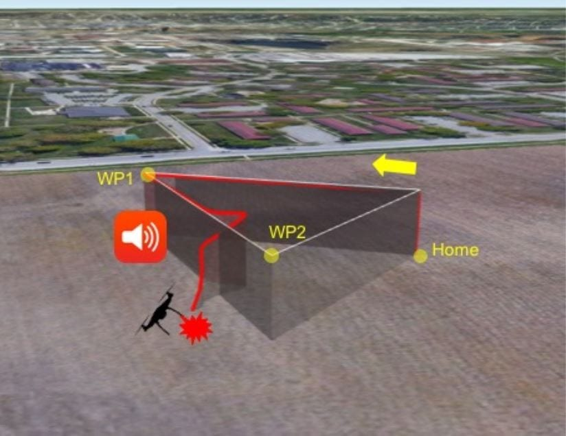 Acoustic noise attack and the affected flight trajectory while performing a simple flight mission