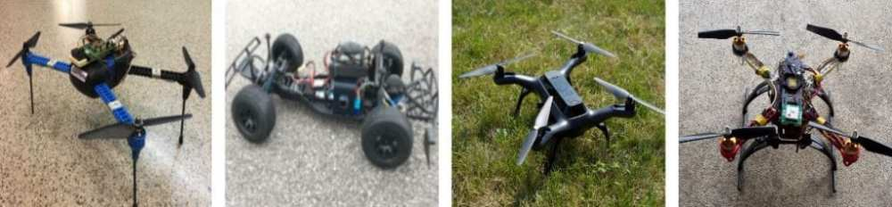 Real RVs in evaluation: 3DR IRIS+, Erle-Rover, 3DR Solo, Self-built (left to right)