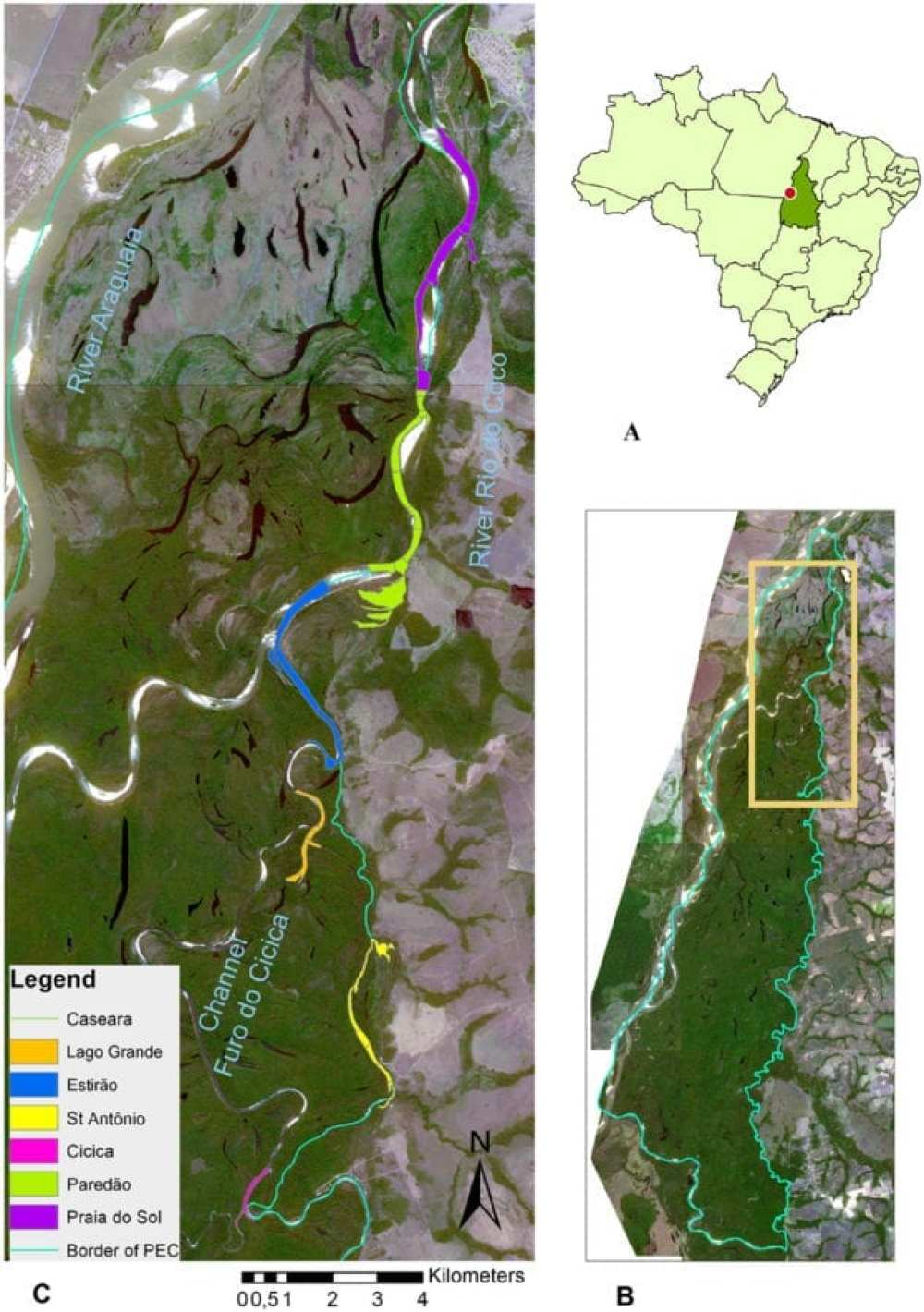 Map of the study site. (A) Location of the Tocantins State, Central Brazil, indicating the area where Parque Estadual do Cant~ao (PEC) is located (dot). (B) PEC border (green line), within which the current study has been carried out (orange frame). (C) Study site map with the location of the six sectors where river dolphins were surveyed. Survey sections were located along the Channel Furo do Cicica and the River do C^oco as well as secondary river arms and lakes. (Source of satellite images: Rapid Eye, July 2015).