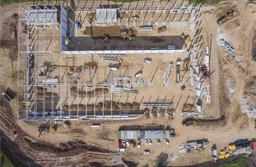 – Aerial view of construction site taken by drone