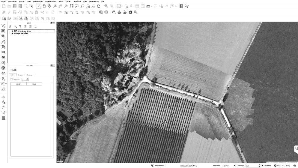 QGIS with Google layer and orthoimage, 0.1 x 0.1m (screenshot)