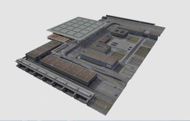 Photorealistic 3D photogrammetry model of airport terminal, Berlin (Germany).