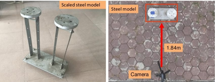 The steel model and the experimental setup