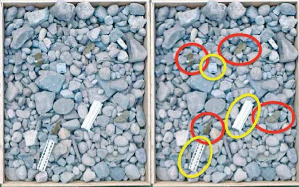 Trials 1 and 2, photogrammetry of cobble environment with PFM-1 landmines circled in red and the KSF-1 cassette casing elements circled in yellow in the second image.