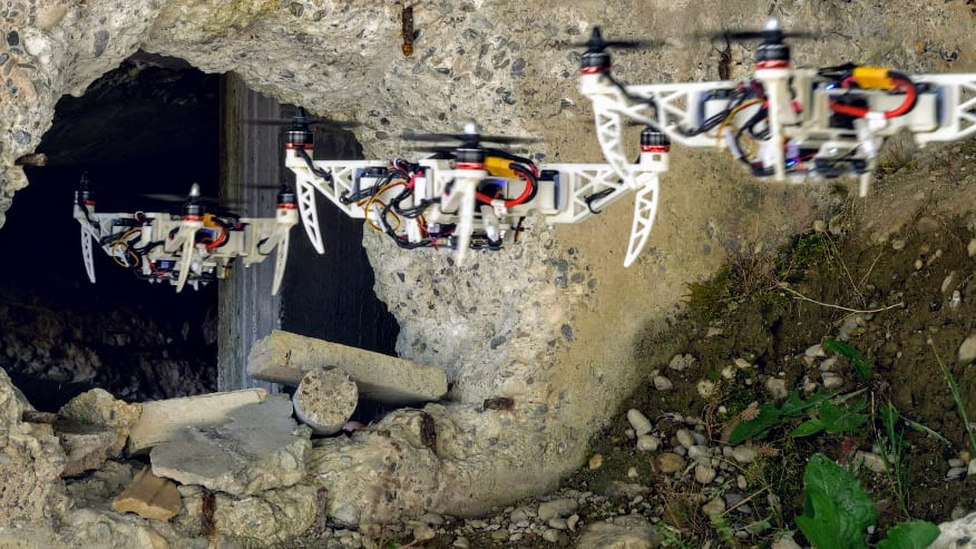The new drone can squeeze itself to pass through gaps and then go back to its previous shape, all the while continuing to fly. (Image: UZH)