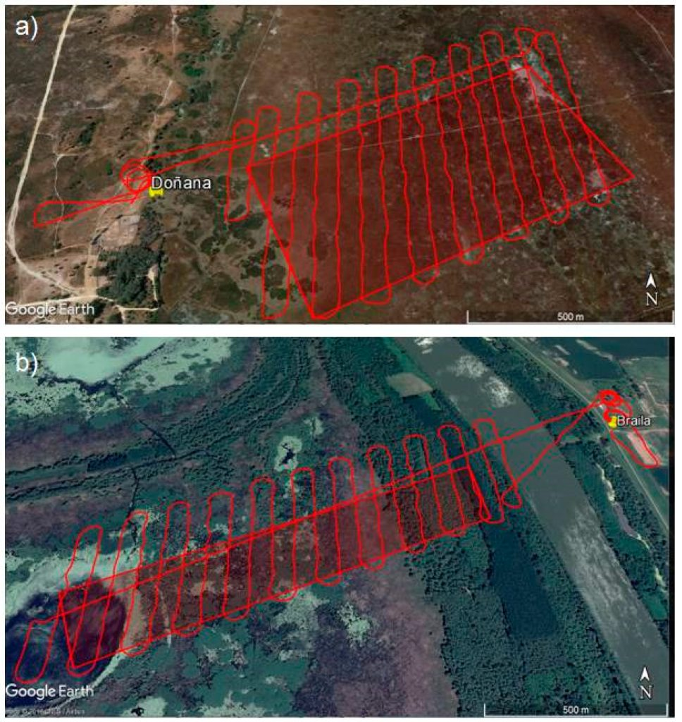 UAV flight missions at (a) Doñana marshes and (b) Small Island of Braila. Image courtesy of 2018 Google©.