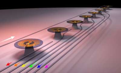 Mechanical sensors on a silicon chip. Credit: Dr Christopher Baker.
