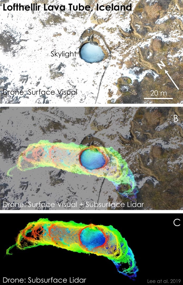 """Figure 1: Drone-LiDAR mapping of the """"skylight"""" entrance area of the Lofthellir Lava Tube Ice Cave in Iceland. Top: Aerial view of the entrance. Bottom: Drone-borne LiDAR map of the lava tube cave below the skylight entrance area. Middle: Drone LiDAR map projected against the aerial view to show underground extent of lava tube entrance area. (Credit: NASA/Astrobotic/SETI Institute/Lee et al. 2019)"""