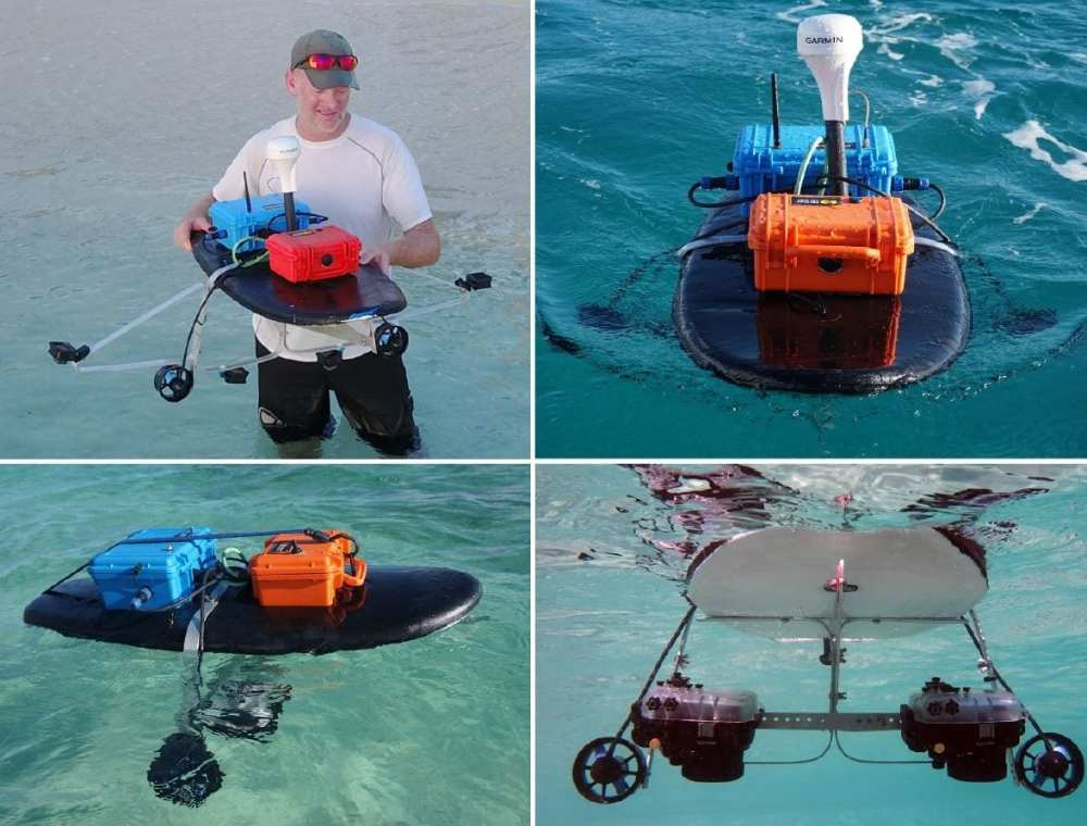 Reef Rover Version 2 showing two different camera systems. The upper right image shows the assembled system collecting data at the West Bay, Grand Cayman study site. The upper left image shows the system setup using four GoPro™ Hero 6 Black cameras. The lower images show the system setup using two Sony a6300 mirrorless cameras in underwater housings.